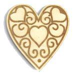 Sachet 6 pièces coeurs bois 60 x 66 mm ivoire et argent