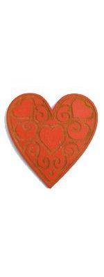 Sachet 6 pieces coeurs bois 60 x 66 mm rouge et or