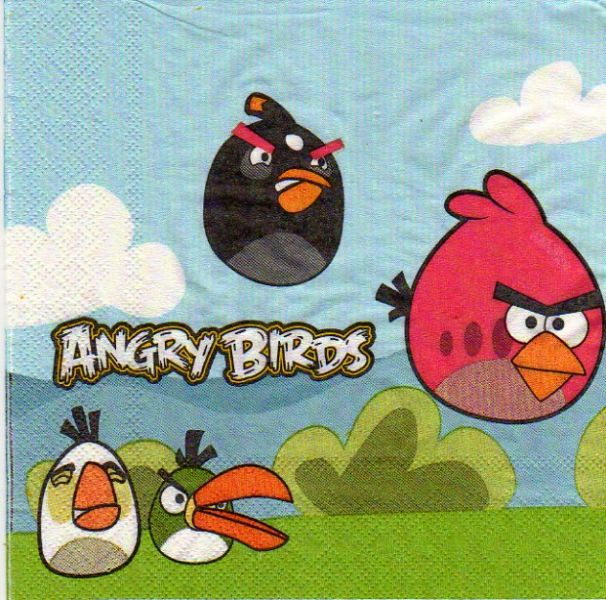 d co enfant serviette angry birds le jeu de 33 cm x 33. Black Bedroom Furniture Sets. Home Design Ideas