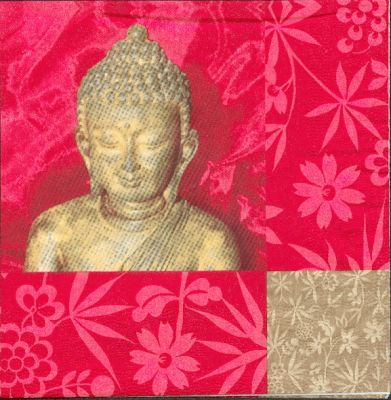 Serviette Asie et Bouddha 33 cm X 33 cm 3 plis
