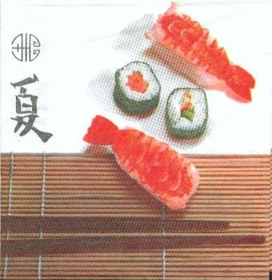 Serviette Asie Sushis et thon 33 cm X 33 cm 3 plis