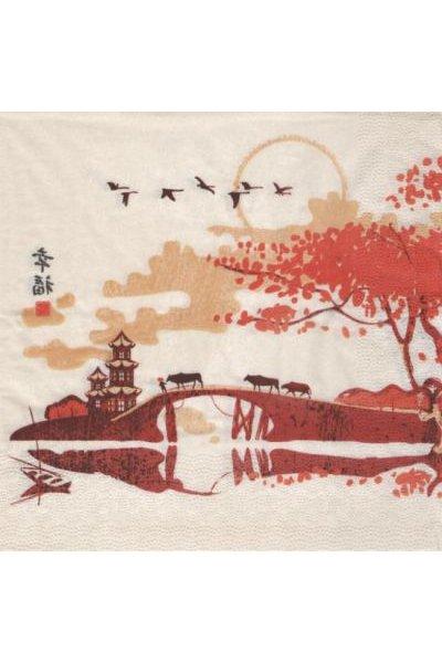 Serviette Asie et paysage 33 cm X 33 cm 3 plis