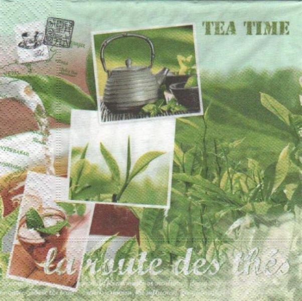 Serviette Asie et la route des thés 33 cm X 33 cm 3 plis