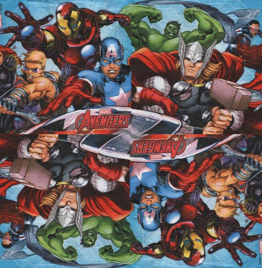 Serviette Avengers 4 héros 33 cm X 33 cm 3 plis