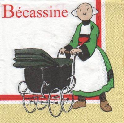 Serviette Bécassine et landau 33 cm X 33 cm 2 plis