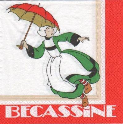Serviette Bécassine et ombrelle 33 cm X 33 cm 2 plis