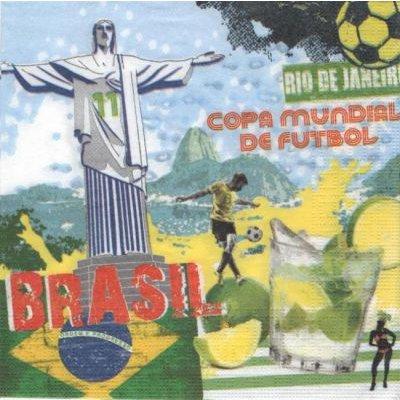 Serviette Brésil 2014  33 cm X 33 cm 3 plis