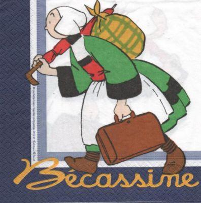 Serviette Bécassine et valise 33 cm X 33 cm 2 plis