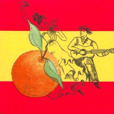 Serviette Espagne et Danseurs 33 cm X 33 cm 3 plis