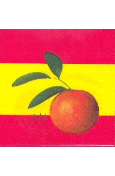 Serviette Espagne motif fruits 33 cm X 33 cm 3 plis