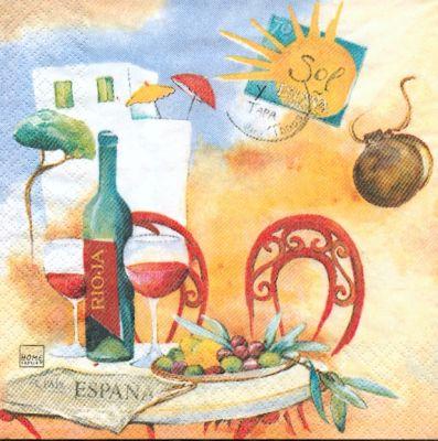 Pays serviette espagne motif soleil 33 cm x 33 cm 3 plis - Fourniture loisirs creatifs ...
