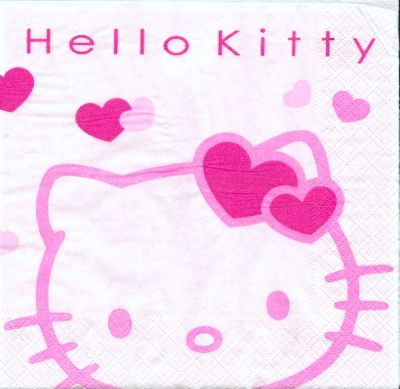 Serviette Hello Kitty de 33 cm X 33 cm 2 plis