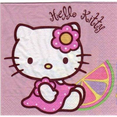 Serviette Hello Kitty assis 33 cm X 33 cm 2 plis