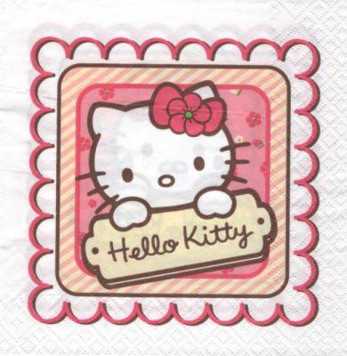 D co enfant serviette hello kitty cadre de 33 cm x 33 - Fournitures loisirs creatifs ...