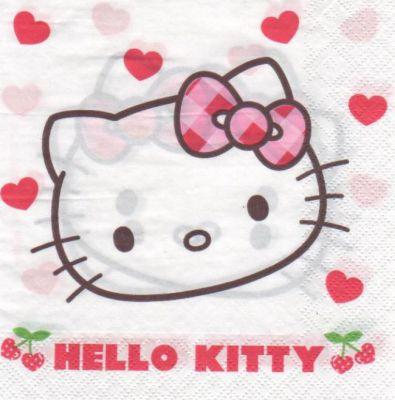 D co enfant serviette hello kitty et cerise de 33 cm x - Fournitures loisirs creatifs ...