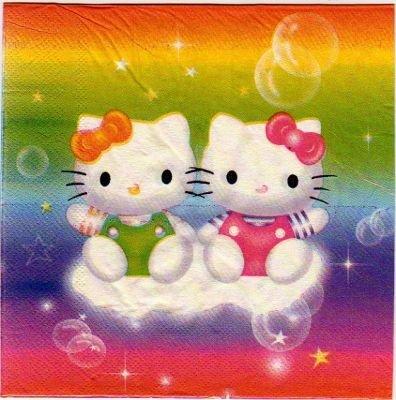 Serviette Hello Kitty sur un nuage 33 cm X 33 cm 2 plis