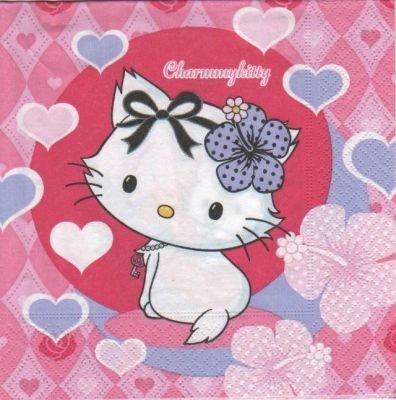 Serviette Kitty  charmy 33 cm X 33 cm 3 plis