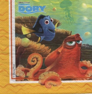 Serviette le monde de Dory de 33 cm X 33 cm 2 plis