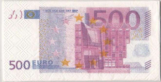 Serviette Money 500 Euro 8 cm X 16 cm 3 plis
