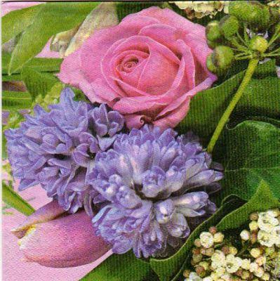 Serviette tulipe et rose 33cm X 33 cm 3 plis