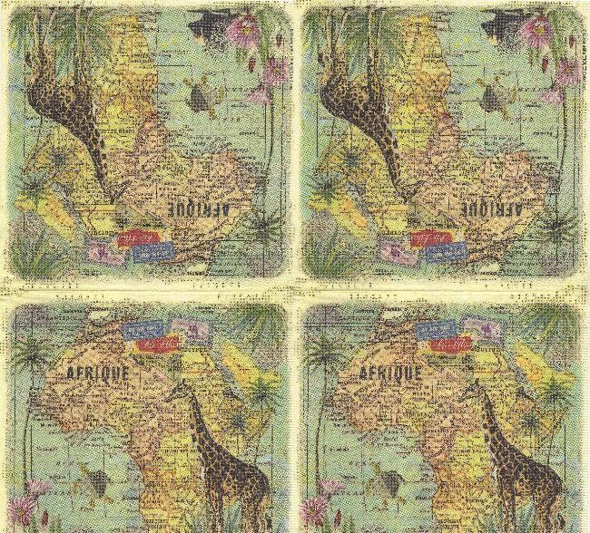 Serviette papier Afrique et carte 33 cm X 33 cm 3 plis