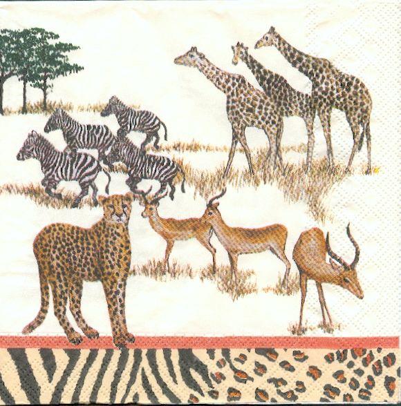 Serviette papier Afrique et girafe 33 cm X 33 cm 3 plis