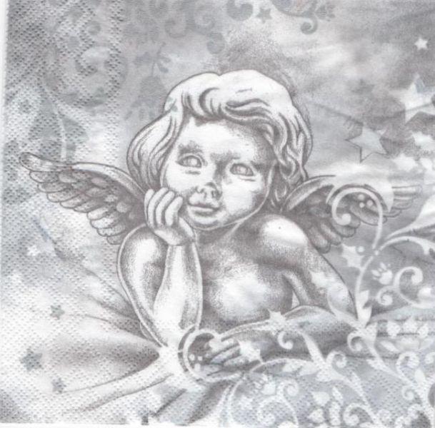 Serviette papier ange de Noël  33 cm X 33 cm 3 plis