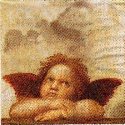 Serviette papier Petit ange de Noël  25 cm X 25 cm 3 plis