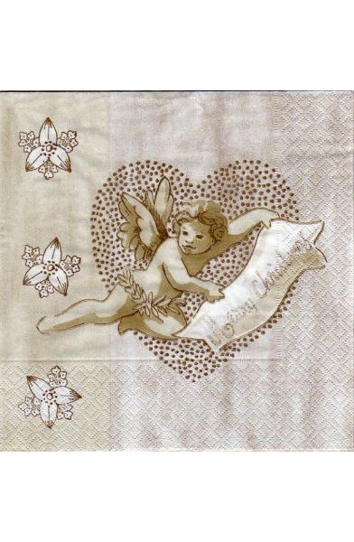 Serviette papier ange de Noël Merry Christmas 33 cm X 33 cm