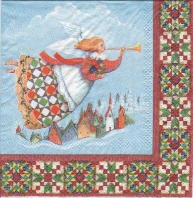 Serviette papier Ange et trompette de 25 cm X 25 cm 3 plis