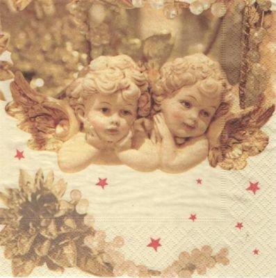 Serviette papier 2 anges de Noël  33 cm X 33 cm 3 plis