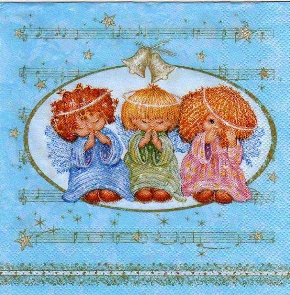 Serviette papier 3 anges de Noël bleu  33 cm X 33 cm 3 plis