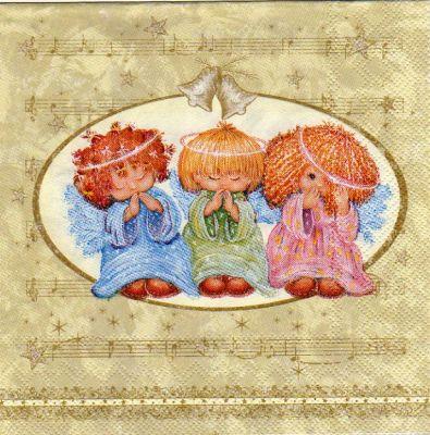 Serviette papier 3 anges de Noël  33 cm X 33 cm 3 plis