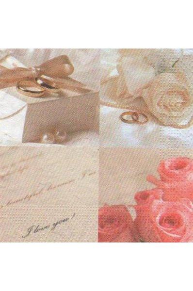 Serviette papier bijoux et roses de 22 cm X 22 cm