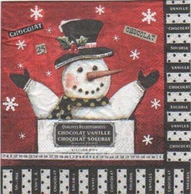 Serviette papier bonhomme de neige 25 cm X 25 cm 3 plis