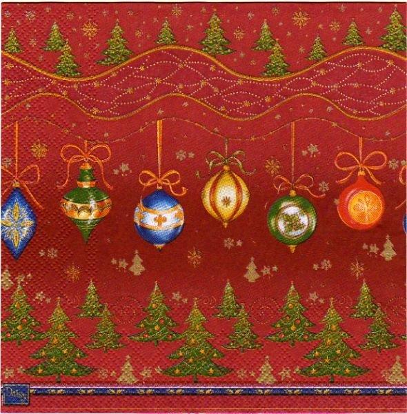 Serviette papier Boule Noël et sapins 33 cm X 33 cm