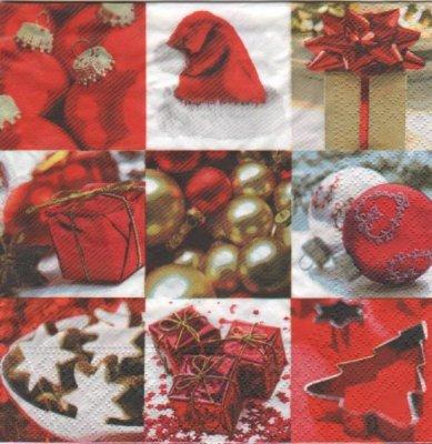 Serviette papier Boule Noël et Cadeaux 33 cm X 33 cm