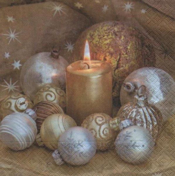 Serviette papier Boules de Noël or 33 cm X 33 cm 3 plis