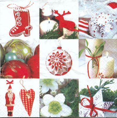 Serviette papier Boules de Noël 33 cm X 33 cm 3 plis