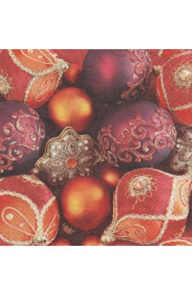 Serviette papier Boules de Noël rouge 33 cm X 33 cm 3 plis