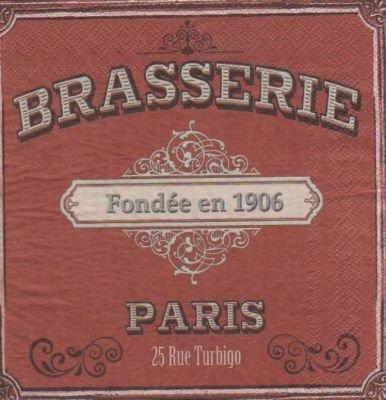 Serviette papier brasserie Paris de 33 cm X 33 cm 3 plis