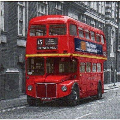 Serviette papier Bus Londonien  33 cm X 33 cm 3 plis