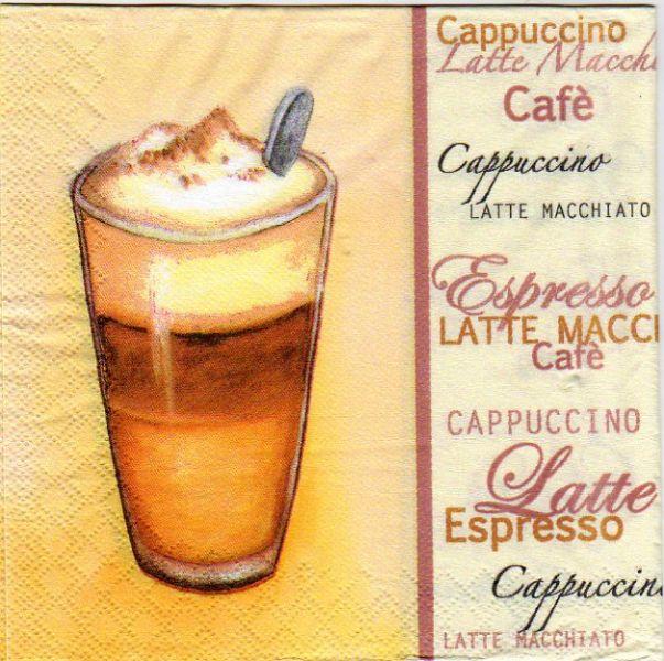 Serviette papier Café et Cappuccino de 33 cm X 33 cm 3 plis
