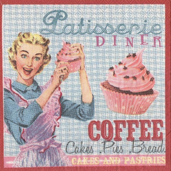 Serviette papier cake et café 33 cm X 33 cm 3 plis