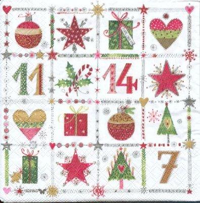 Serviette papier calendrier de l'Avent 33 cm X 33 cm 3 plis
