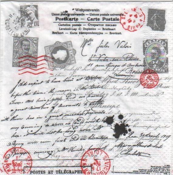 Serviette papier motifs divers : Serviette papier carte postale ancienne de 33 cm X 33 cm