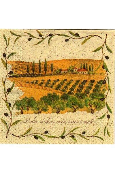 Serviette papier champ oliviers  33 cm X 33 cm 3 plis