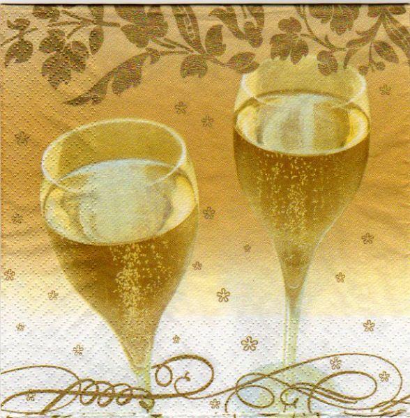 Serviette papier champagne 2 verres
