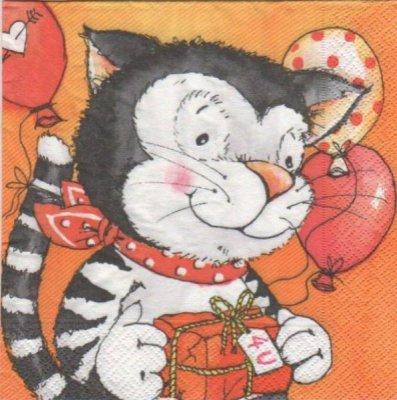 Serviette papier chat gris 33cm X 33 cm 3 plis
