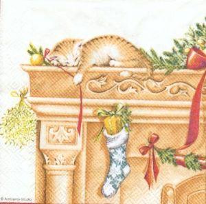 Serviette papier Chaton de Noël sur cheminée 25 cm X 25 cm